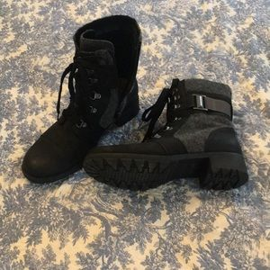 Black and gray boots